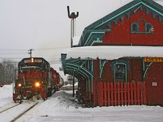 train station in snowy Vermont