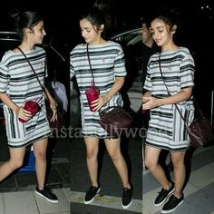 """Alia Bhatt is just cuteness overloaded as she arrives at the airport. Her look is so relaxed and casual that it is just stylish be default. The shoes,…"" Travel Clothes Women, Clothes For Women, Chic Outfits, Fashion Outfits, Alia And Varun, Short Frocks, Thick Girl Fashion, Sexy Skirt, Dress Skirt"