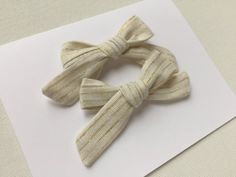 SALE gold and white stripe jo hair bow holiday by ShopJoJoandCo