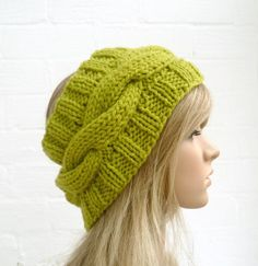 Hand Knit Headband Earwarmer Cabled Green by Clickclackknits, £12.00