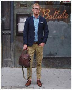 Men's Navy Blazer, Blue Long Sleeve Shirt, Khaki Cargo Pants, Brown Leather Brogues