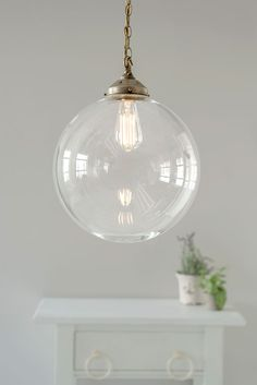 Richmond Pendant Light in Antiqued Brass Large Pendant Lighting, Glass Pendant Light, Brass Pendant, Pendant Lights, Ceiling Rose, Ceiling Lights, Window Furniture, Vase Shapes, Glass Ball