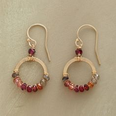 "BLUSH SPECTRUM EARRINGS -- Sparkling 14kt gold-filled hoops of corundum, hessonite and rhodalite garnets, pink and smoky quartz on 14kt gold-filled earwires. Handcrafted in USA. 1-1/4""L., SundanceCatalog.com"