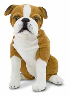 With smooth white stockings and a wrinkled chest, this English bulldog is a tenacious little charmer.  With excellent quality construction and attention to lifelike details, it sits at attention, alert for a call from you.