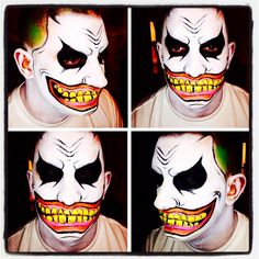 Zombie clown face paint.