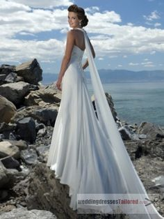 Empire Waist Spaghetti Straps Brush Train Chiffon Beach Wedding Dress