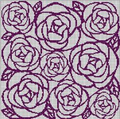 ROSES+MOSAIC+TAPESTRY+STYLE+CROCHET+AFGHAN+PATTERN+GRAPH