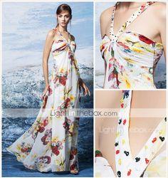 Formal Evening Dress - Print Plus Sizes / Petite Sheath/Column Halter Floor-length Chiffon 3944135 2016 – $125.09