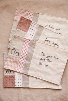 Sewing illustration mug rug--very sweet sayings.