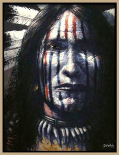 Original Oil Painting by Robert Osterloh. Native American Face Paint, Native American Warrior, Native American Paintings, Native American Pictures, Native American Quotes, Native American Beauty, Native American History, American Indian Tattoos, American Indian Art