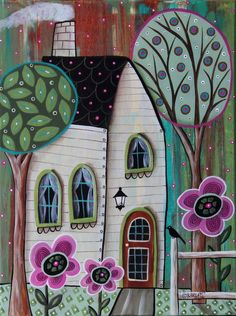 Ivory Cottage 12x16 inch ORIGINAL CANVAS PAINTING Folk Art House Trees Karla G #FolkArtAbstractPrimitive