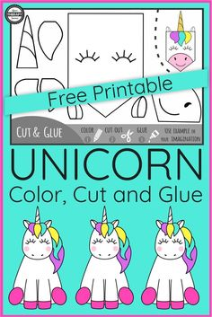 Are you looking for a cute, unicorn fine motor activity that is free? This freebie includes the Color, Cut and Glue Unicorn Fine Motor Activity. Art Therapy Activities, Motor Activities, Kindergarten Activities, Preschool Activities, Cutting Activities For Kids, Teaching Ideas, Preschool Crafts, Crafts For Kids, Fun Craft