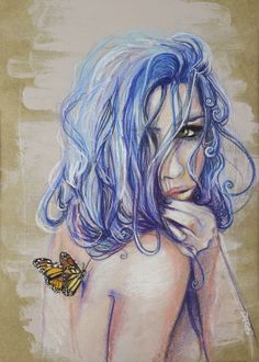 """Saatchi Art Artist: Sara Riches; Pencil 2014 Drawing """"Fragile Wings"""" #art #butterfly"""