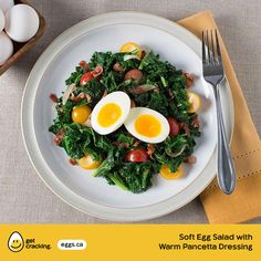 Soft Egg Salad with Warm Pancetta Dressing   Eggs.ca   #GetCracking #Eggs Switch out the soft egg for a poached egg! This is a perfect meal for lunch or dinner.