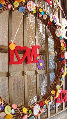 Button Love Wreath