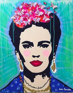 Frida Kahlo Mariposas Art Print by Paola Gonzalez. All prints are professionally printed, packaged, and shipped within 3 - 4 business days. Diego Rivera, Paola Gonzalez, Frida Artist, Frida E Diego, Pop Art, Frida Paintings, Painting Portraits, Freida Kahlo, Atelier D Art