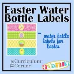 Freebie Easter Water Bottle Labels - great Easter freebie!  These will be cute for Easter brunch!  Free from www.thecurriculumcornerfamily.com.