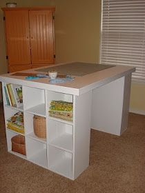 DIY Sewing/Cutting table Chestnut Sparrow: Cutting Table with Storage. DIY Sewing/Cutting table Chestnut Sparrow: Cutting Table with Storage. Craft Table Diy, Craft Storage, Diy Storage, Room Organization, Craft Tables With Storage, Craft Room Tables