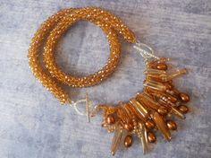 Bohemian Crystal Bead Crochet Necklace in Warm by TerebellumStudio