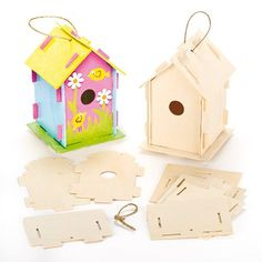 Wooden Birdhouse Kits for Children to Make Paint & Decorate - Pack of 2 - [gallery] This product is one of our great range of own brand craft activities and kits for children. These products can be decorated with the wide range of pens, paints, sequins, stickers and other craft embellishments (all sold separately) that are available for sale on our amazon shop. Our huge range of craft kits covers almost every occasion. Tweet' them to a wooden birdhouse! Children will have