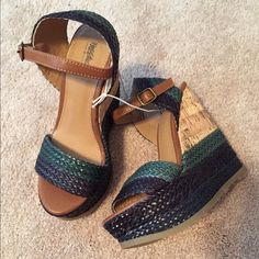 TWO PAIRS! Green & Blue + Brown Stacked Wedges 5.5 TWO PAIRS! Green & Blue + Brown Stacked Wedges 5.5 // Green NWT and Brown worn once or twice Shoes