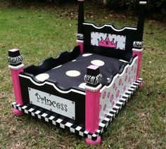 Black Pink Zebra Hand Painted Custom Designed Dog Bed on Etsy, $175.00..... I would use it for my cat