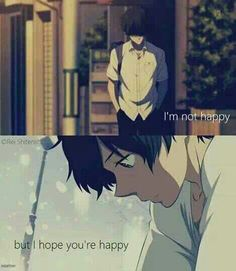 I'm not happy, but I hope you're happy, sad, quote, text, Oreki Houtarou; Hyouka