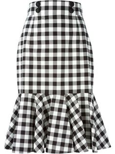 Black and white cotton check ruffle skirt from Dolce & Gabbana featuring a high waist, a front button fastening, a rear zip fastening and a ruffled hem. by farfetch African Wear, African Dress, Ruffle Skirt, Dress Skirt, Frilly Skirt, Pleated Skirts, Cotton Skirt, Sheath Dress, Waist Skirt