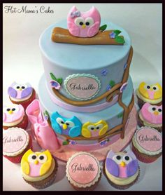 Silver and White Baby Shower cake - Owl themed baby shower cake inspired by Fondant Flinger. :)