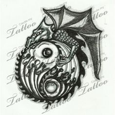Marketplace Tattoo Dragon wave ying yang #10269 | CreateMyTattoo.com