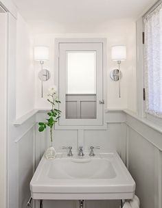 Half bath Panelling in suede gray up ledge up to window Upper Ostrich white with polka dots in satin