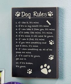 Remember who really is in charge with a Dog or Cat Rules Wall Sign. Everyone has rules they live by, even our furry friends. Make sure you stay inside the law w