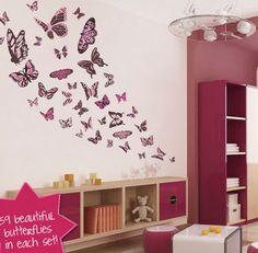 Beautiful Butterflies Wallpaper In White Wall Paint Decoration Kid ...