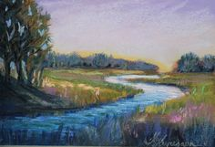 """Pastel landscape painting """"River"""" Keiu Kuresaar"""