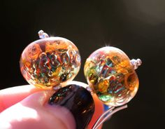 Lampwork and silver earrings Red Blue Green от DonchenkoAnna