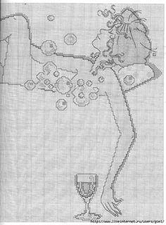 0 point de croix femme dans son bain avec verre de vin - cross stitch woman, lady in her bath with glass of wine part 3