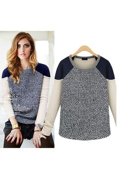Color Block Raglan Quilted Neoprene Shoulder Grey Marble Knit Sweater