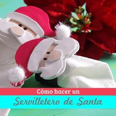 How to make a santa napkin ring Clay Christmas Decorations, Christmas Crafts For Gifts, Christmas Ornament Crafts, Christmas Napkins, Simple Christmas, Cutlery Holder, Mickey Mouse, Tables, Craft Ideas
