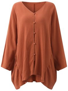 Vintage Pure Color Baggy Blouse For Women - Newchic
