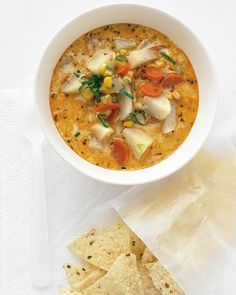 Southwestern Corn Chowder. Sub veg broth and use Trader Joe's frozen roasted corn. Maybe some blue cornbread on the side?