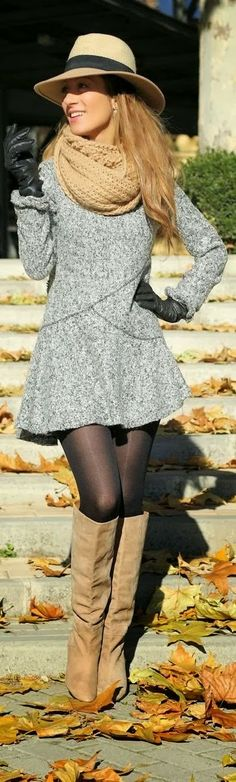 Fashion clothing outfit women style gray coat sweater dress scarf brown hat boots pantyhose autumn