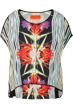 Clover Canyon Printed crepe and silk top