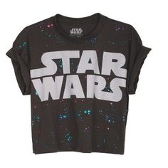 Splatter Star Wars Crop Tee ❤ liked on Polyvore featuring tops, t-shirts, shirts, blusas, crop tops, crop shirt, crop top, splatter t shirt, cropped tees and shirt top