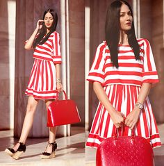 Dress, Louis Vuitton Bag