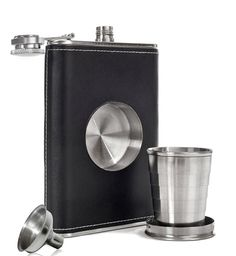 Leather Hip Flask with Built-in Collapsible Shot Glass & Flask Funnel - GoGetGlam  - 1
