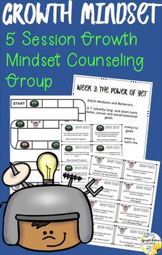 Growth Mindset Small Group for elementary school counseling Elementary School Counselor, School Counseling, Elementary Schools, Group Counseling, Counseling Activities, Social Emotional Learning, Social Skills, Social Work, Student Behavior