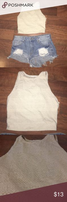 Lace hollister crop top Laced hollister crop top. Size Small. Cheaper through v e n m o Hollister Tops Crop Tops