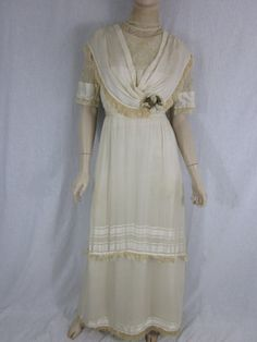 Victorian Ivory Silk Wedding Gown by MarigoldVintageWear on Etsy, $748.00