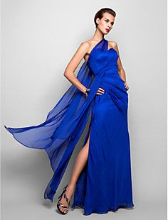 199801a2879   149.99  Sheath   Column One Shoulder Floor Length Chiffon Open Back  Formal Evening Dress with Side Draping by TS Couture®