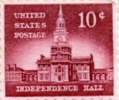 US postage stamp, 10 cent.  Independence Hall.  Issued 1954.  Scott catalog 1044.